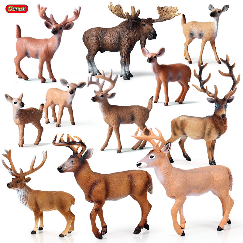 Oenux Wild Animals Europe Elk Moose Wapiti Figures White Tailed Deer Model Action Figures PVC Decoration Kids Toy For Xmas Gift