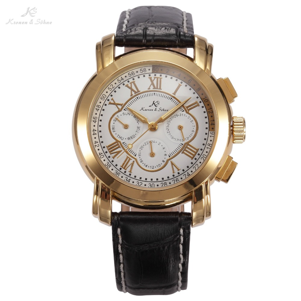 где купить KS Brand 6 Hands Date Day Stainless Steel Case Metal Buckle Leather White Golden Auto Mechanical Men Self-Wind Watch Gift /KS047 по лучшей цене