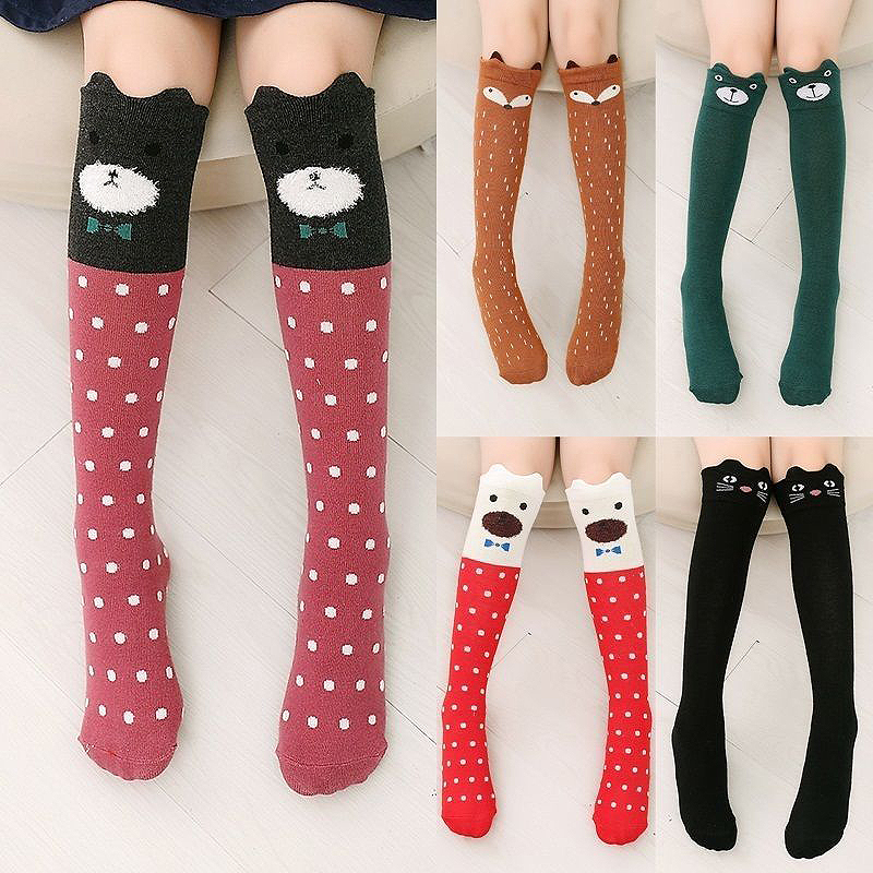 Fashion 42cm Spring New Girls Tube Socks Kids Cat Children Korean Cute Cotton Long Socks 8-12 Years