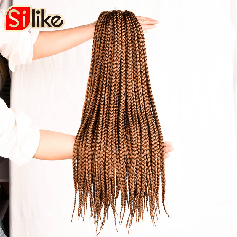 "Silike 3S Crochet Box Braids 12"" 18"" 22"" Synthetic Braiding Hair Extensions 12 Roots Crochet Braids for Black Women 6 Packs/lot"