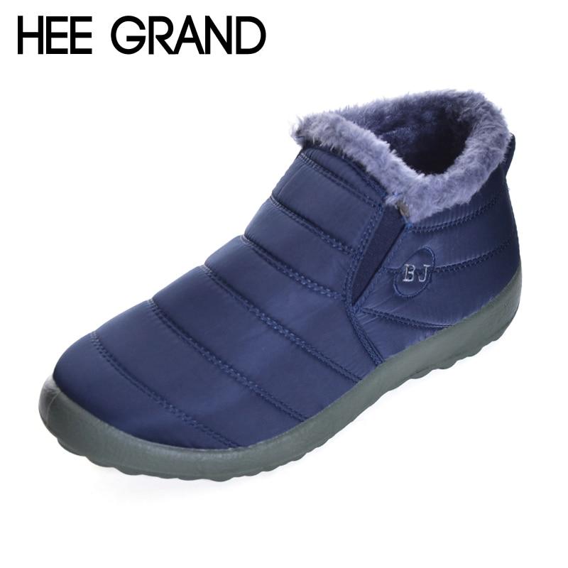 HEE GRAND Unisex Women Winter Warm Ankle Boots Fur Snow Boots Waterproof Outdoor Slip On Booties Sneakers Shoes Women XMX882