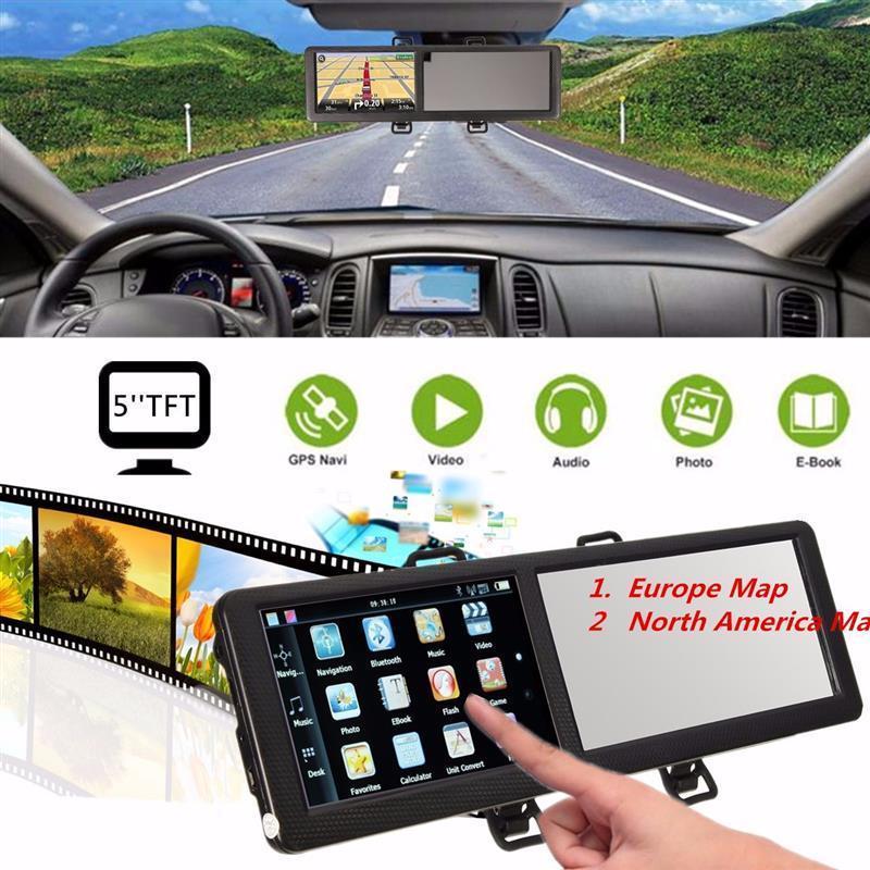 Автомобильное Зеркало GPS навигатор 5 дюймов TFT сенсорный экран автомобильный GPS навигация зеркало заднего вида с 8 Гб памяти карта Северной А...