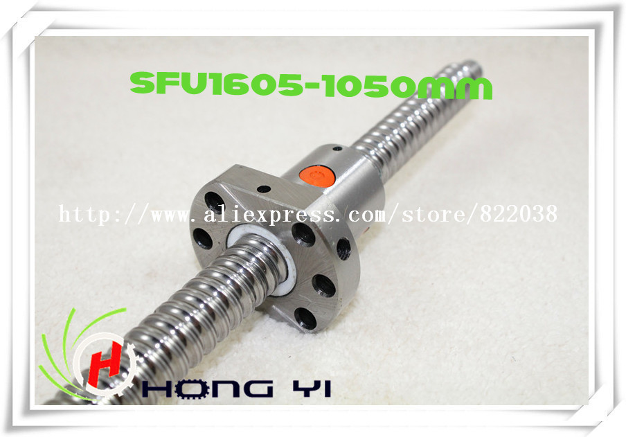 Free Shipping 1pcs Ball screw SFU1605 - L1050mm+ 1pcs Ballscrew Ball nut for CNC and BK/BF12 standard processing 2pcs ball screw sfu1605 l3000mm 1500mm 2pcs ballscrew ball nut for cnc and bk bf12 standard processing