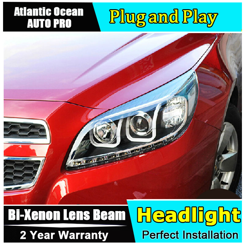Car Styling LED Head Lamp for Chevrolet Malibu headlights 2011-2014 drl LED Headlight HID KIT Bi-Xenon Lens angel eye low beam