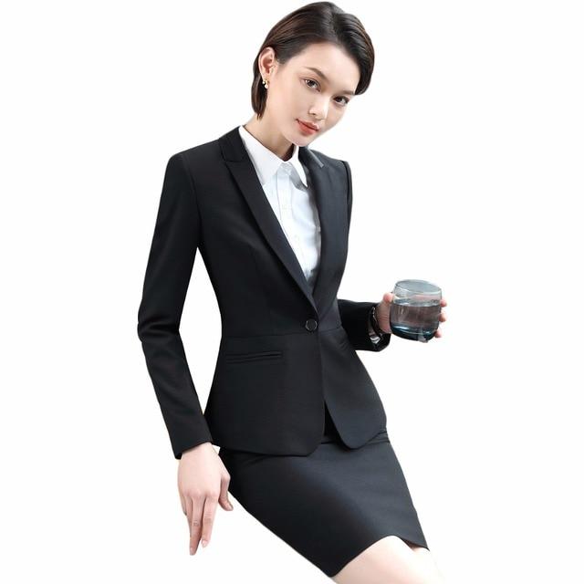 2018 nueva moda Otoño primavera elegante negro formal Trajes con falda con  Chaquetas y falda para 9b8a224e4a49