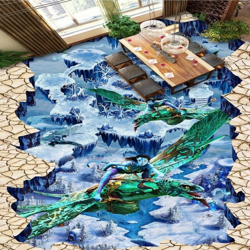 yard street park Free Shipping park Magic floor painting street outdoor shopping mall restaurant floor wallpaper mural