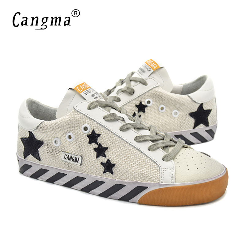 CANGMA Original Italy Deluxe Popular Superstar Shoes Women Hemp Genuine Leather Female Casual White Brand Handmade Shoes Blanche cangma original italy deluxe brand men golden shoes women handmade silver genuine leather goose shoes scarpa stella sapato 2017