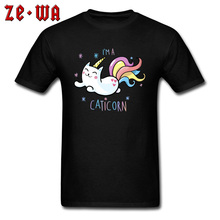 CATICORN Rainbow Unicorn Cat Funny Kawaii T Shirt Space Pony Cute Print T-Shirts My Litter Gift Tshirts For Men Cotton