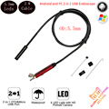 Android Endoscope Camera 2M Soft Cable5.5mm lens IP68 Waterproof Borescope Inspection Camera 6 LED For Andorid SmartPhone