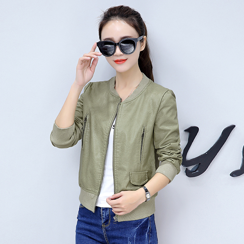 Plus Size S-5XL Fashion 2018 Autumn Winter Women   Leather   Coat Female Slim Short zipper   Leather   Jacket Women's Outerwear bs5720