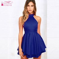 Tanya Women's Halter Neck A Line Homecoming Dresses Semi Formal Graduation Gown Short Backless Blue Cocktail Party Dress DQG879