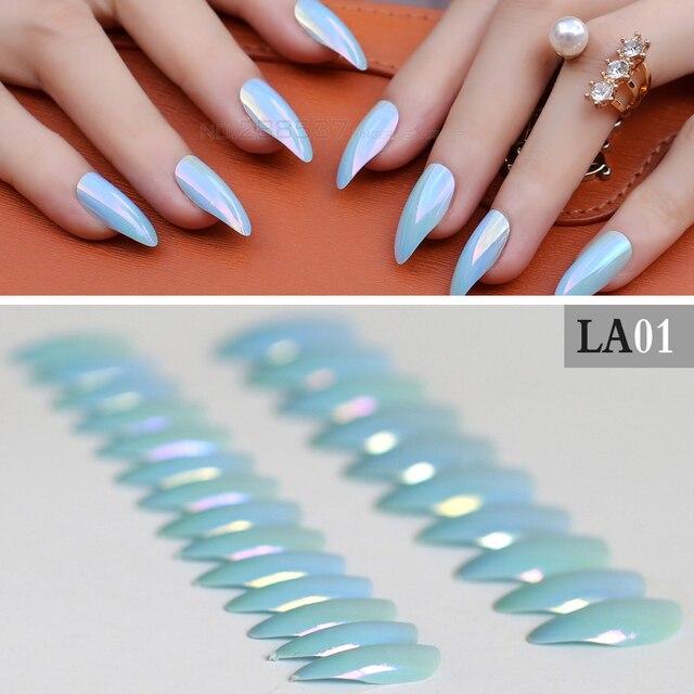 Cielo azul cubierta completa uñas stiletto encantadora consejos ...