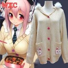 Anime nitro super sonic juego traje de super sonico el animación cosplay japón kawaii conejo suéter wxc