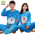 GOPLUS 2017 Autumn Winter Couple Flannel Doraemon Pajamas Set Cartoon Cat Lovers Long Sleeve Sleepwear Set Women and Men Pyjamas