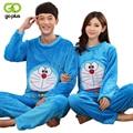 GOPLUS 2017 Autumn Winter Couple Flannel Doraemon Pajamas Set Cartoon Cat Lovers Long Sleeve Sleepwear Set Women and Men Pyjamas