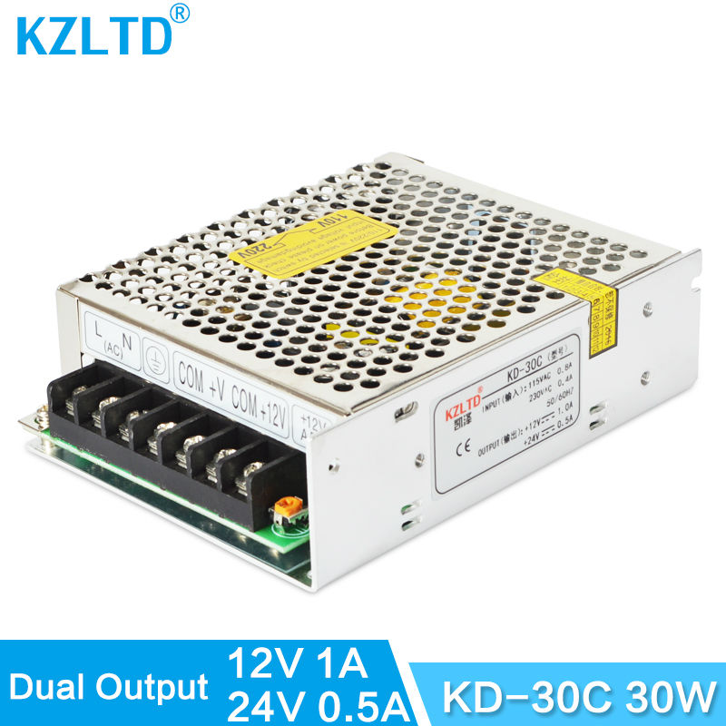 12V 24V 30W Dual Output Switching Power Supply Adapter 220V / 110V Input AC to DC Converter for Monitor CNC CCTV Camera Scanner 5v 4a switching power supply dual output transformers ac to dc power adapter for led light monitor cctv camera high quality