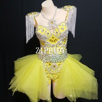 Sexy Fashion Design Neon Yellow Rhinestone Outfit Leotard Skirt Stage Show Shoulder Pads Dance Wear Chains Fringes Clothing Set