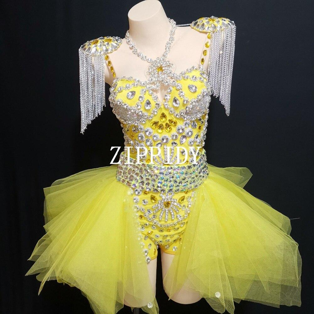 Sexy mode Design néon jaune strass tenue justaucorps jupe scène spectacle épaulettes danse porter des chaînes franges vêtements ensemble