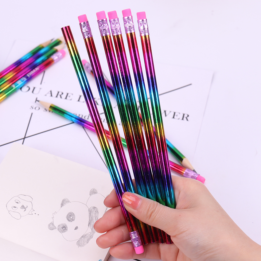12PCS Student Rainbow Wooden Pencil Kids Sketch Drawing Material Tool School Stationery Supplies