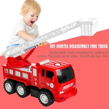 Diy Inertia Disassembly Fire Truck Mini Ladder Toy Children Simulation Classic Toys For