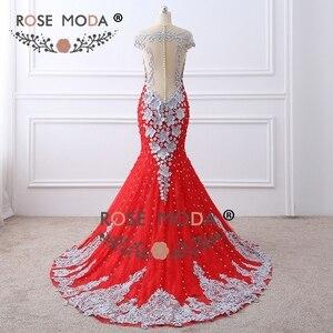 Image 3 - Gül Moda Lüks Ağır Boncuklu Kırmızı Dantel Mermaid Balo Elbise ile Çıplak Geri El Yapımı 3D Çiçekler Inci Düğmeler Resmi Parti elbise