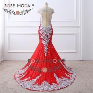 Image 3 - עלה Moda יוקרה בכבדות חרוזים אדום תחרת בת ים שמלה לנשף עם כפתורי פנינת פרחי עבודת יד 3D עירום חזור צד פורמלי שמלת