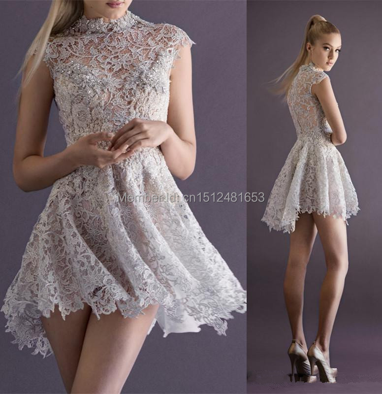 2015 New Sexy Lace Cocktail Dresses With High Neck Cap Sleeve Sheer Back A Line Short Mini Prom Party Pageant Gowns