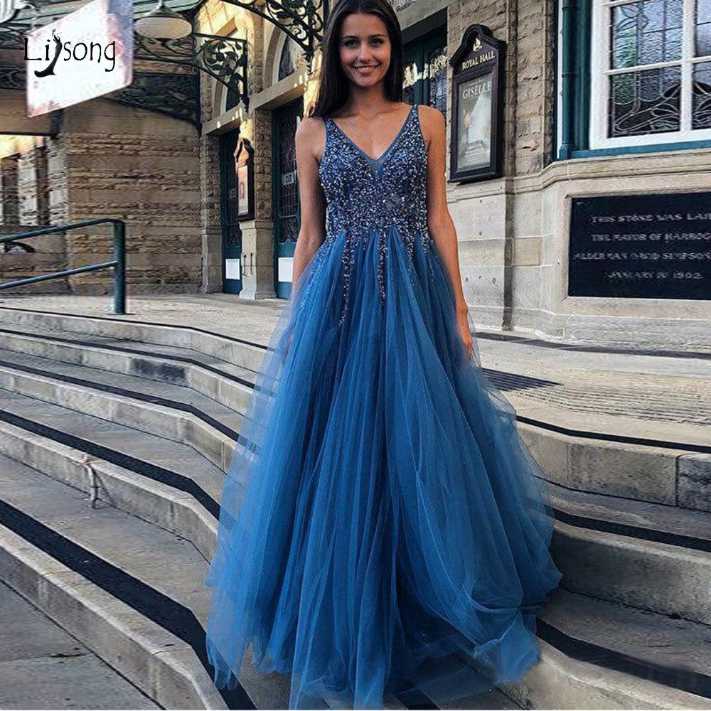 Sparkle Crystal Beaded Tulle Evening Dresses Sexy Backless A line Long Prom Gowns V neck Formal