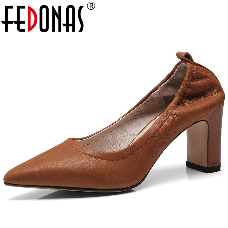 FEDONAS Classic Design Women Thick High Heeled Pumps Slip-on Four Season Pointed Toe Elegant Retro Office Pumps Shoes WomanFEDONAS Classic Design Women Thick High Heeled Pumps Slip-on Four Season Pointed Toe Elegant Retro Office Pumps Shoes Woman
