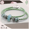 Hot Sale 100% 925 Sterling Silver Clasp Leather Rope Bracelet And Necklace With Light Green Series Silver Charms
