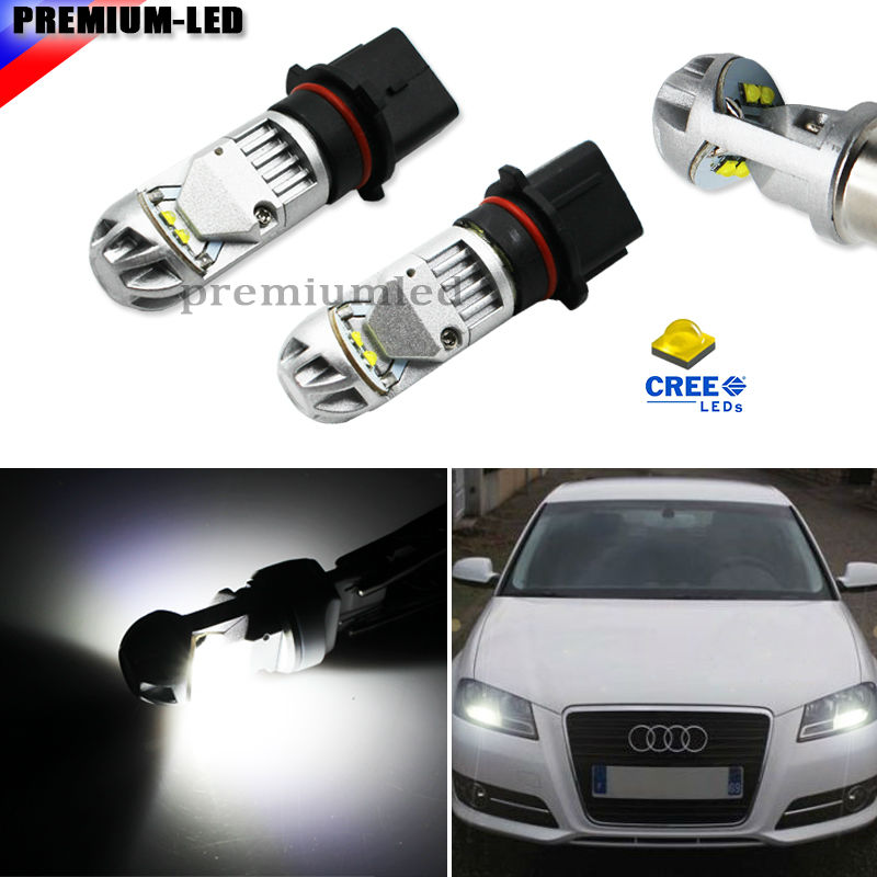 Xenon White High Power P13W LED Bulbs For 2008-2012 Audi A4 Q5 Daytime Running Lights (For A4 Q5 with Halogen Headlight Only)