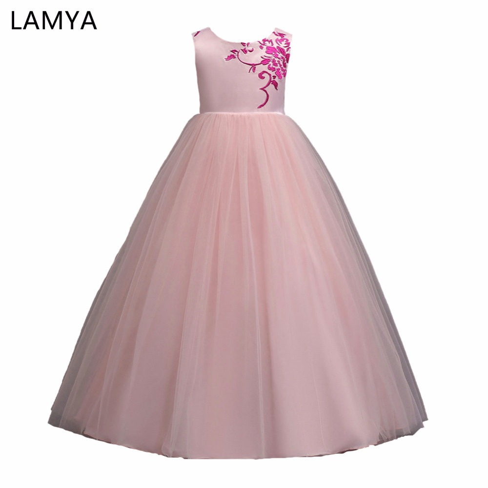 LAMYA Flower Children Wedding Party Dresses Girls Dress Embroidery Kids Evening Ball Gowns Formal Baby Frocks Clothes for Girl