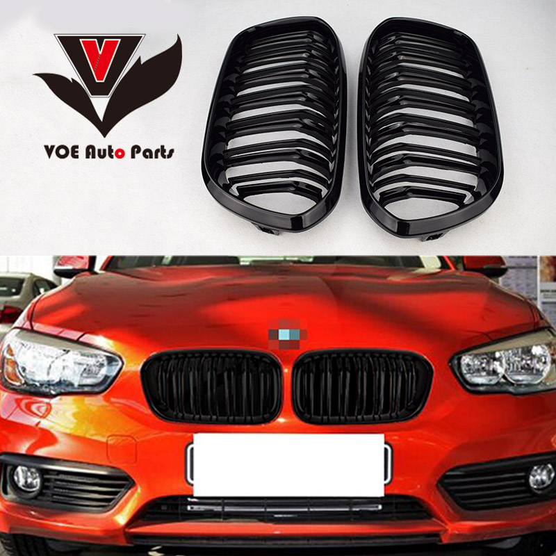 2015 2016 F20 Kidney ABS Plastic Gloss Black 2-line Front Racing Grill Grille for BMW F20 1 Series LCI x3 x4 dual front kidney grill for bmw f25 lci