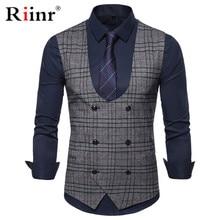 Riinr брендовый костюм жилет мужской пиджак без рукавов серый кофе винтажный твидовый жилет Модный весенний Осенний жилет размера плюс