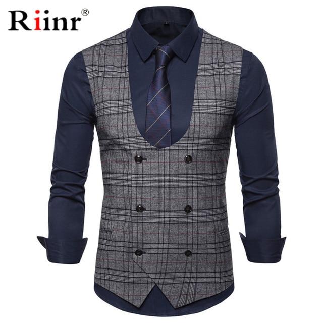 Riinr 2019 Marke Anzug Weste Männer Jacke Ärmelloses Grau Kaffee Vintage Tweed Weste Mode Frühjahr Herbst Plus Größe Weste