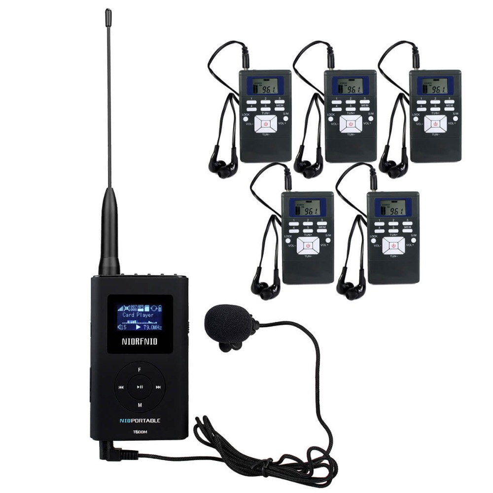 Wireless Tour Guide System 0.6W 1 FM Transmitter+5 FM Radio Receiver for Guiding Church Meeting Translation System Y4409 fm fm transmitter mp3 wireless microphone transmitter radio transmitter board module diy suit kit of parts