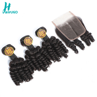 HairUGo Funmi Human Hair Wigs 3 Bundles With 4*4 Lace Closure Peruvian Remy Hair Weave Double Weft Include Hair cap