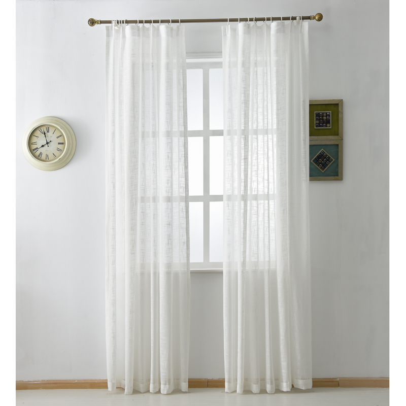 (1 Piece) Modern White Natural Cotton Linen Sheer Curtains Panels,  #LR Cumasha Custom Window Blinds Door Tulle For Living Room