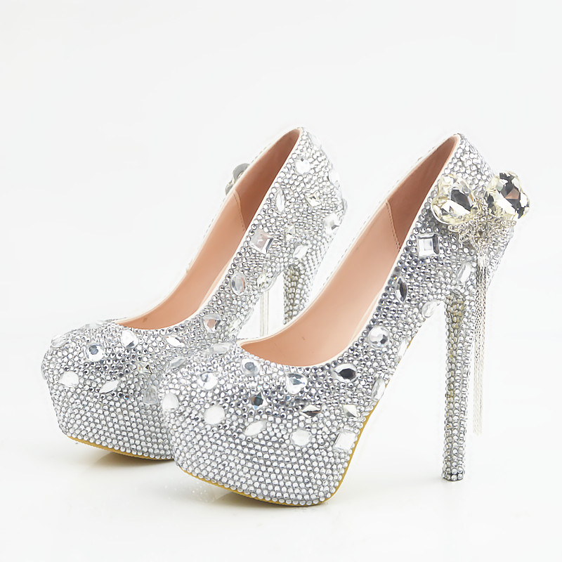 Crystal SILVER wedding shoes woman super high heels platforms brides bridal pumps shoes ladies luxury party banquet shoes HS112
