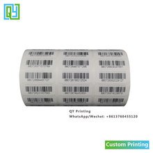 1000pcs 30x10mm Free shipping customized serial number serial barcode label sticker paper sticker