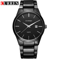 CURREN 8106 Luxury Brand Mens Watches Black Steel Waterproof Men Quartz Watch Casual Business Male Wristwatch