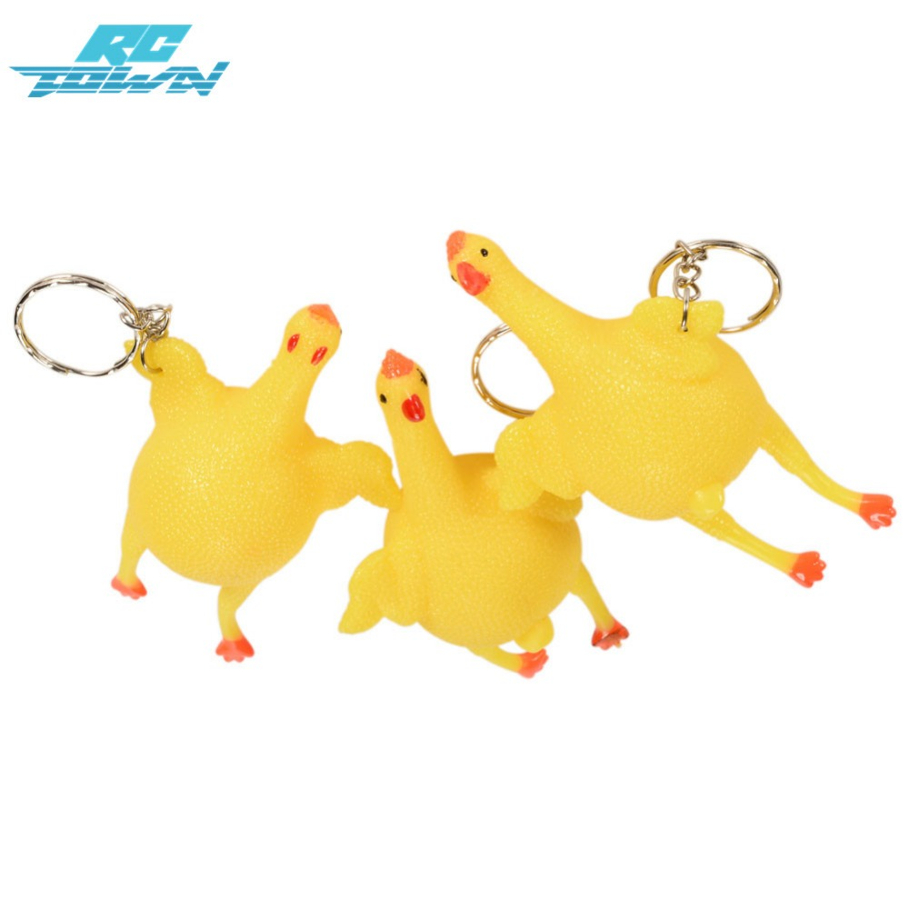 RCtown 3Pcs Creative Relieve Stress Prankish Funny Squeeze Chicken Hen Lay Egg Key Chain zk25