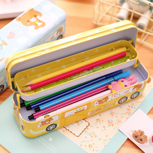 NNRTS Multi-function childrens pencil case Three layers of cartoon Pupils creative  car shape iron pen boxes