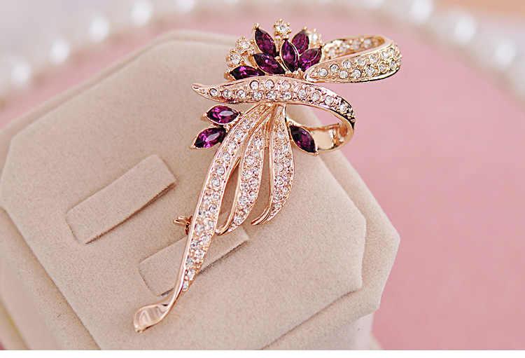 SHUANGR คริสตัลดอกไม้เข็มกลัด Lapel PIN เครื่องประดับแฟชั่น Rhinestone เครื่องประดับงานแต่งงาน Hijab Pins เข็มกลัดขนาดใหญ่สำหรับผู้หญิงเข็มกลัด