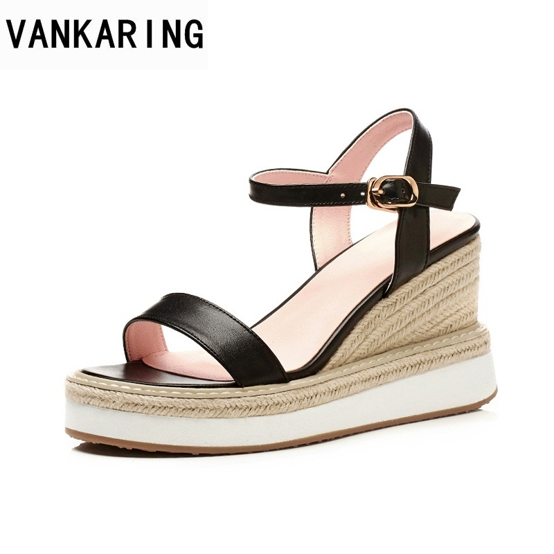 VANKARING summer fashion quality women shoes wedges women sandals platform genuine leather open toe high heeled size 34-40 women mudibear women sandals pu leather flat sandals low wedges summer shoes women open toe platform sandals women casual shoes