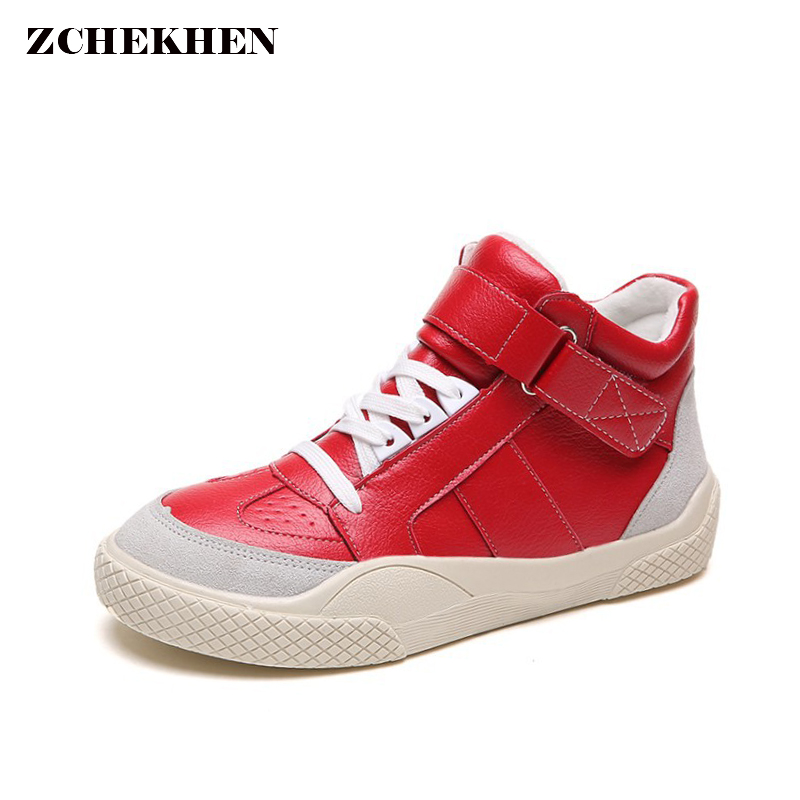 2018 High Top Fashion Sneakers Women Breathable Platform Shoes Tenis Feminino Casual Shoes Women Black/Red white