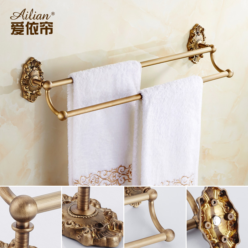 Buckingham Palace Antique British full copper double bar brass towel rack hanging Bathroom Accessories Towel Rails free shipping bathroom thickened antique bath towel frame wall hanging rack full copper bathroom accessories set fixed towel rack