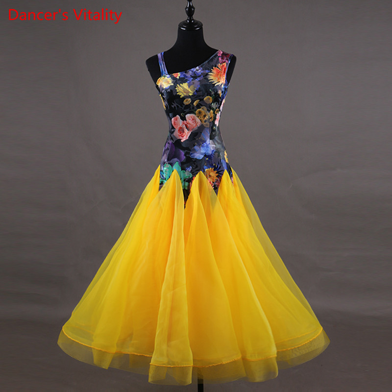 Professional Competition Sleeveless Dance Dresses Custom Women Ballroom Dance Skirt Modern Flamenco Waltz printing Dance Dress