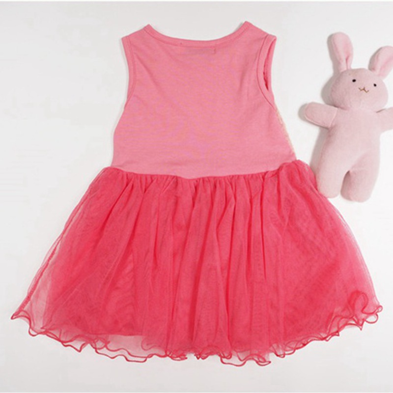 Beautiful Paillette Pink Girls Summer Dress for Kids Party Vestido Menina Infant Clothes Children Wear Bebe Clothing Outfit