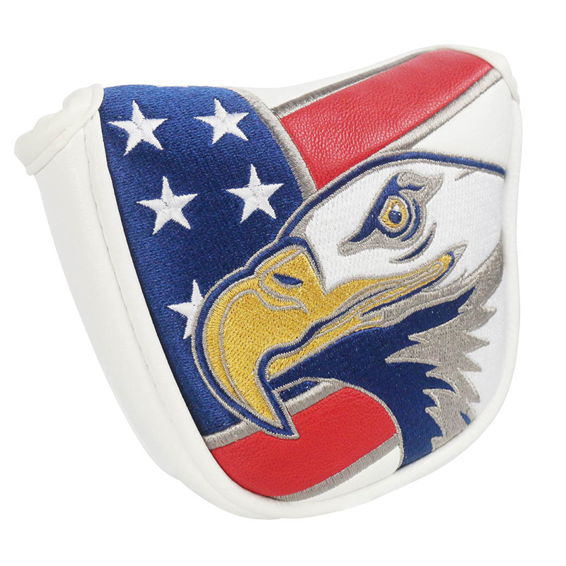 PINMEI Golf Mallet Putter Head Cover USA Eagle Pattern PU Leather Golf Club Head Covers Embroidered Golf Covers Magnetic Closure